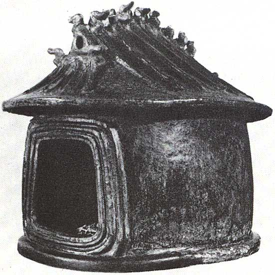 Funeral urn in the form of a hut. Clay. 9th century BCE. Tarquinia, National Archaeological Museum