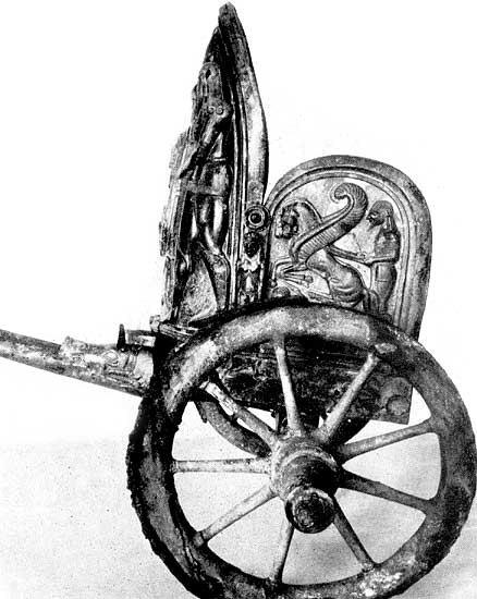 Chariot with figured pictures. Bronze. 6th century BCE. New York, the Metropolitan Museum of Art