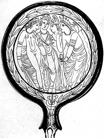 Mirror with a picture of the Judgment of Paris. Bronze. 3rd century BCE.  Saint Petersburg, The State Hermitage Museum