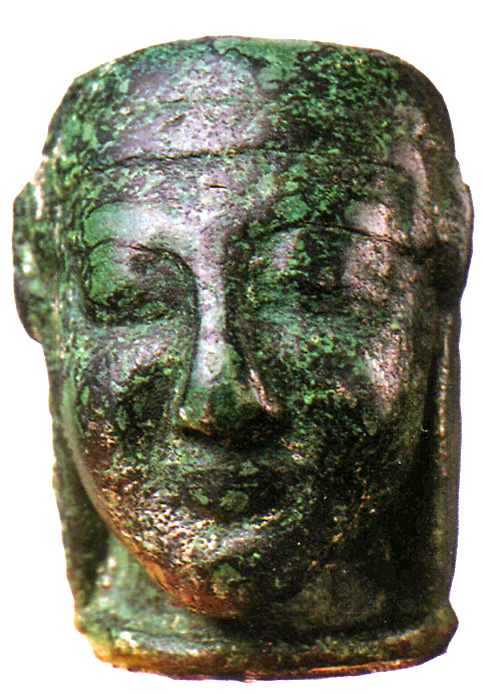 Syrian lead-filled bronze weight in the form of a human head. Late Bronze Age (c. 1650 — c. 1050 BC) Nicosia, Cyprus Museum