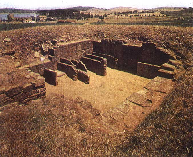View of the exposed tomb of the Beds and Sarcophagi in San Cerbone necropolis, Populonia. 7th century BCE.