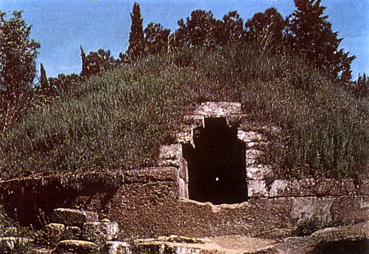The Banditaccia necropolis in Cerveteri (Caere). View of the entrance into the barrow-tumulus.  Tarquinia