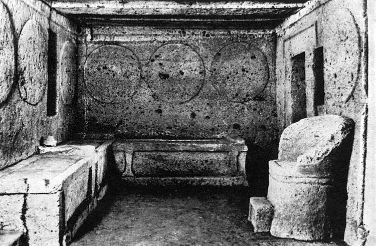 The tomb of the Shields and Chairs in Banditaccia necropolis in Cerveteri (Caere). 6th century BCE. Cerveteri (Caere), Tomb of the Shields and Chairs