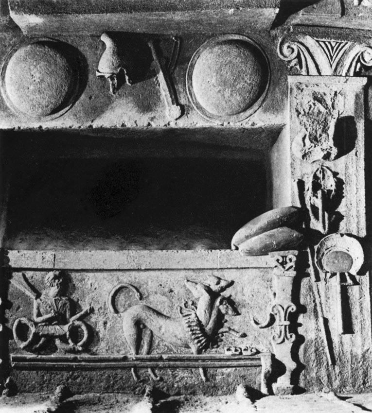 Interior of the tomb of the Reliefs. Tuff covered with stucco. 4th century BCE. Cerveteri (Caere), Tomb of the Reliefs