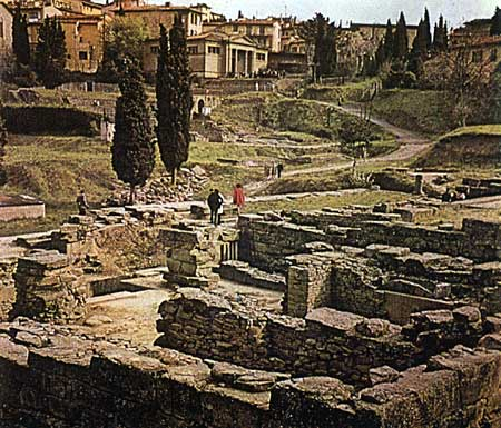 Ruins of the temple of Fiesole. 4th century BCE.