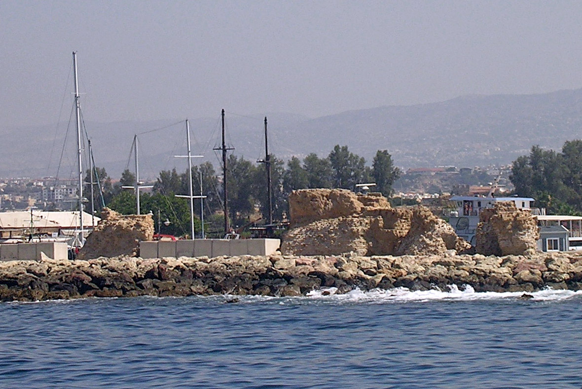 Remains of ancient port. View from the sea. Late 4th century BCE. Cyprus. Paphos, Archaeological Park