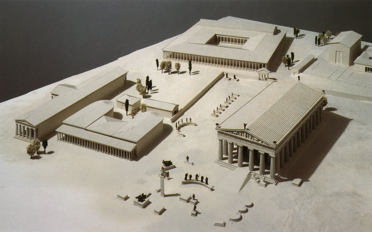 Model of Olympia. Reconstruction. (Bouleuterion, Southern colonnade or Proedria, Leonidaion, temple of Zeus, workshop of Pheidias, roman wall of Altis, Sacred road)  Ghent (Belgium), Bouwhuis