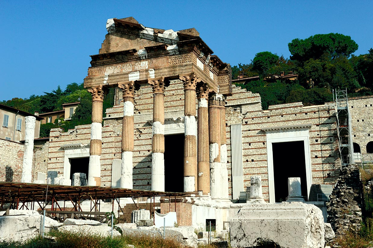 Capitolium Temple (partial reconstruction).  Brescia, Municipal Forum, Capitolium