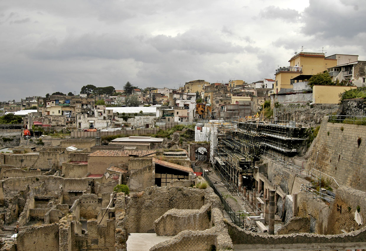View of the excavations of Herculaneum from modern ground level.  Herculaneum