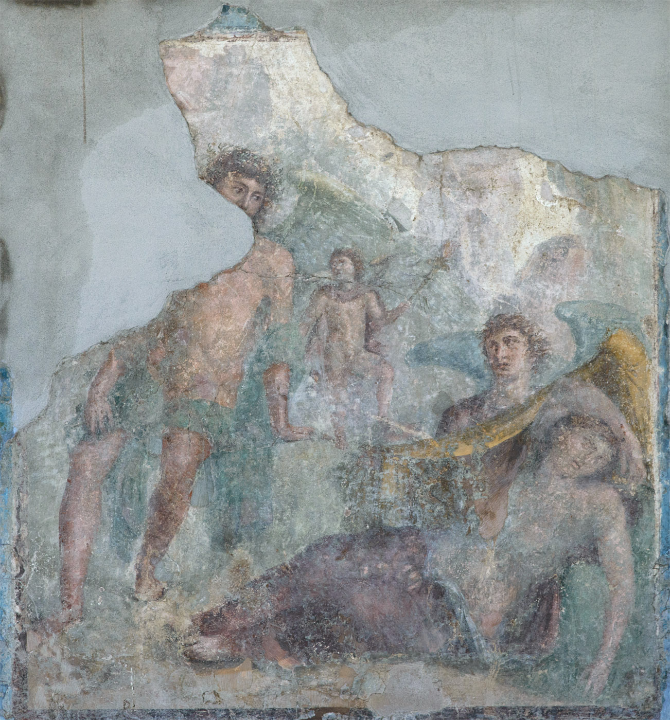 "Wall fresco with a scene ""Dionysus meets Ariadne on Naxos"". The Fourth Style. 1st cent. BCE — 1st cent. CE. Castellammare di Stabia, Villa Ariadne, The second complex"