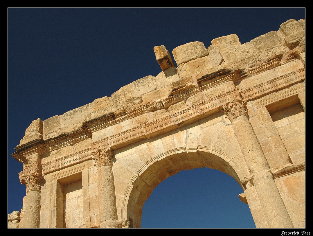 Arch of Antoninus Pius. Cornice and attic with a dedicatory inscription. 139 CE. Sufetula (modern Sbeitla, Tunisia)