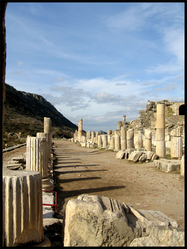 Colonnaded street along the Odeon lined with Ionic and Corinthian columns. 2nd century. Ephesus