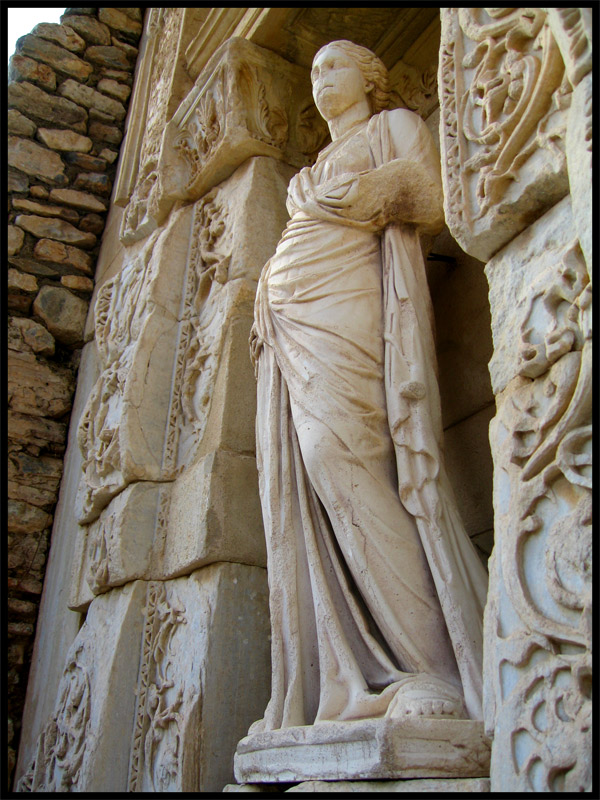 Facade of the Celsius Library. Statue of Wisdom (Sophia). Marble. Modern copy from the original of 117—135 CE. (now the original is stored in Vienna, in Ephesus Museum). Ephesus