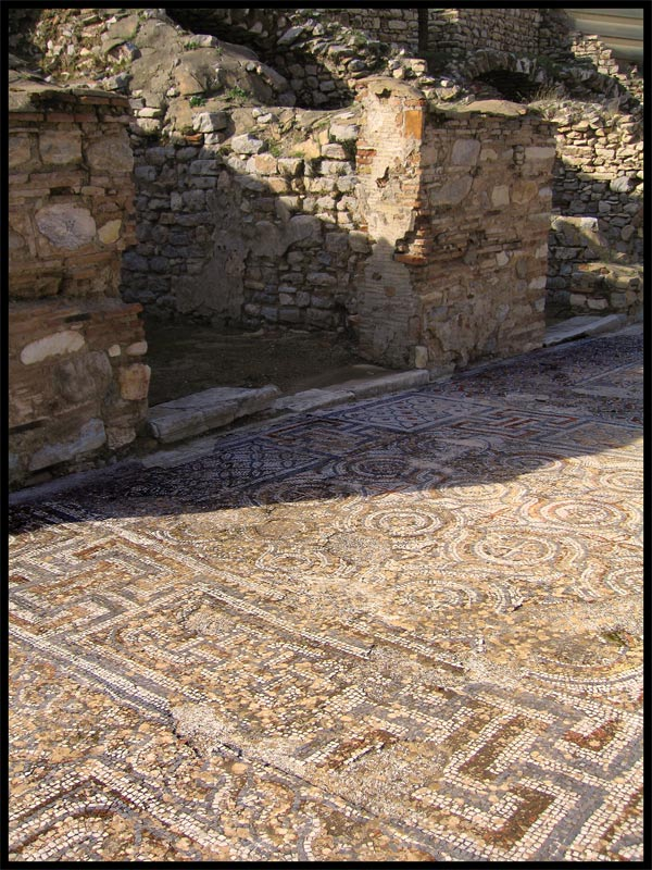 Footpath of the Street of Curetes wholly paved with mosaics.  Ephesus