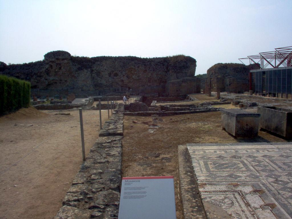 View of the site, adjacent to the defense wall of the 4th century from the entrance of the exposition. Conimbriga (modern Conimbriga, Portugal).