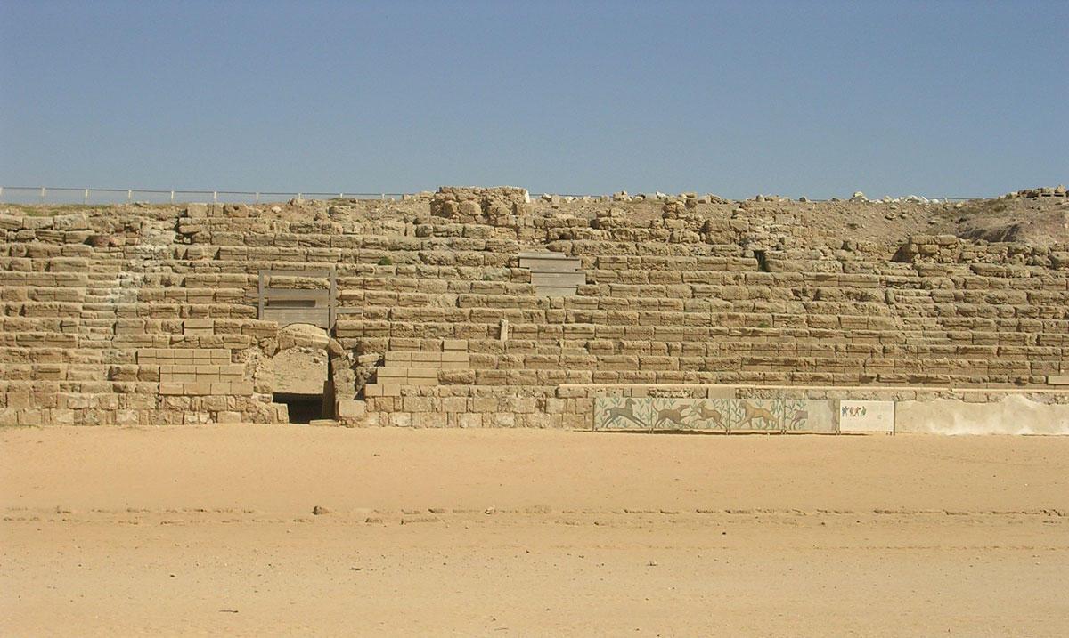 Amphitheatre of the king Herod. Spectators' seats. Platform (spina). 22—10 BCE. Caesarea