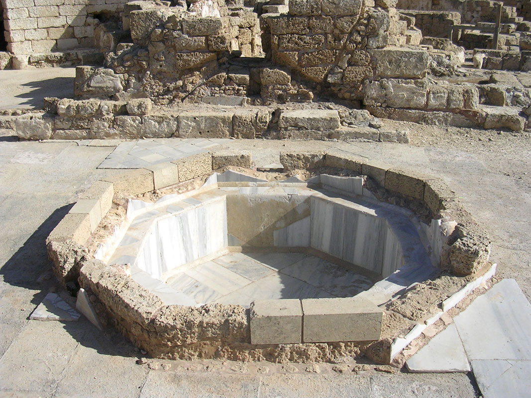 Palace of the procurator of Syria and Palaestina. Baths. Octagonal basin. 70s CE. Caesarea