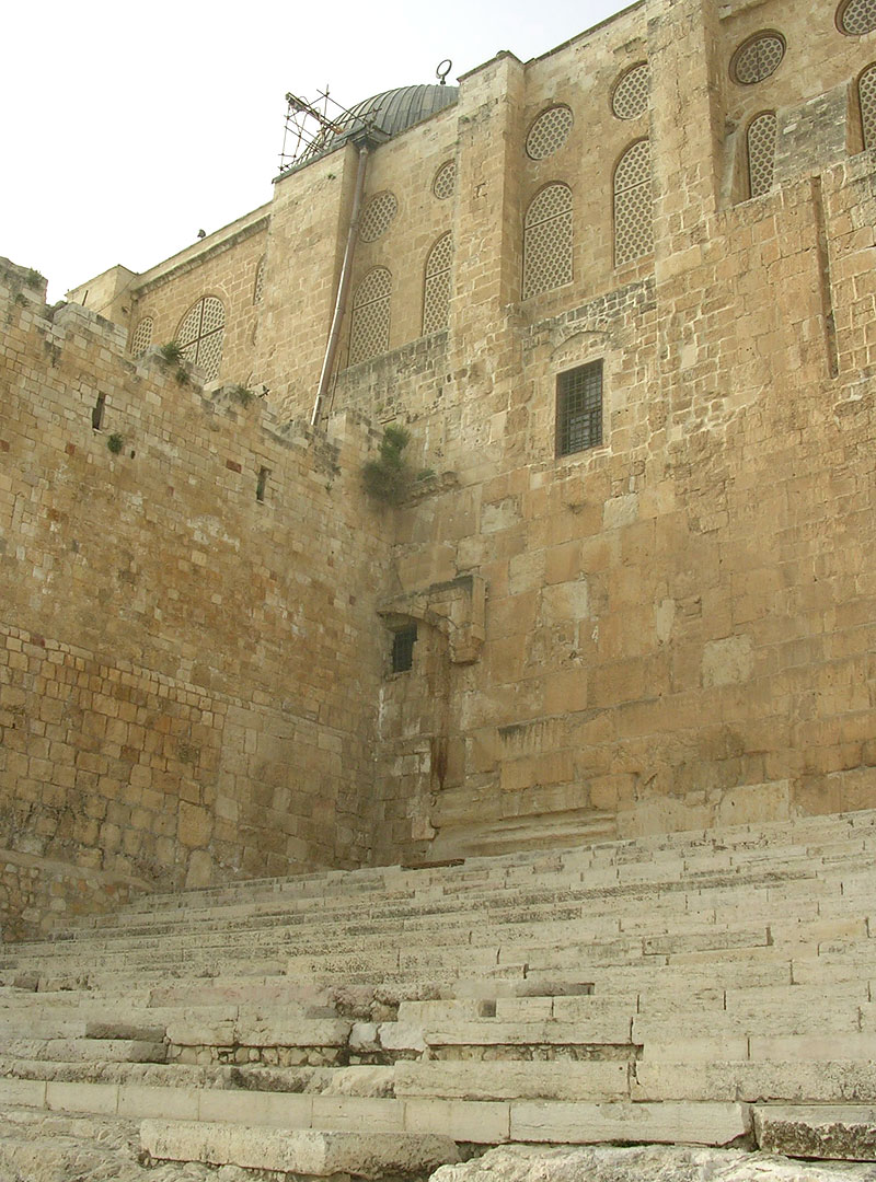 The western (double) Huldah Gate and the monumental staircase. The southern wall of the Temple Mount. Ca. 20 BCE — 70 CE. Jerusalem, Archaeological Park