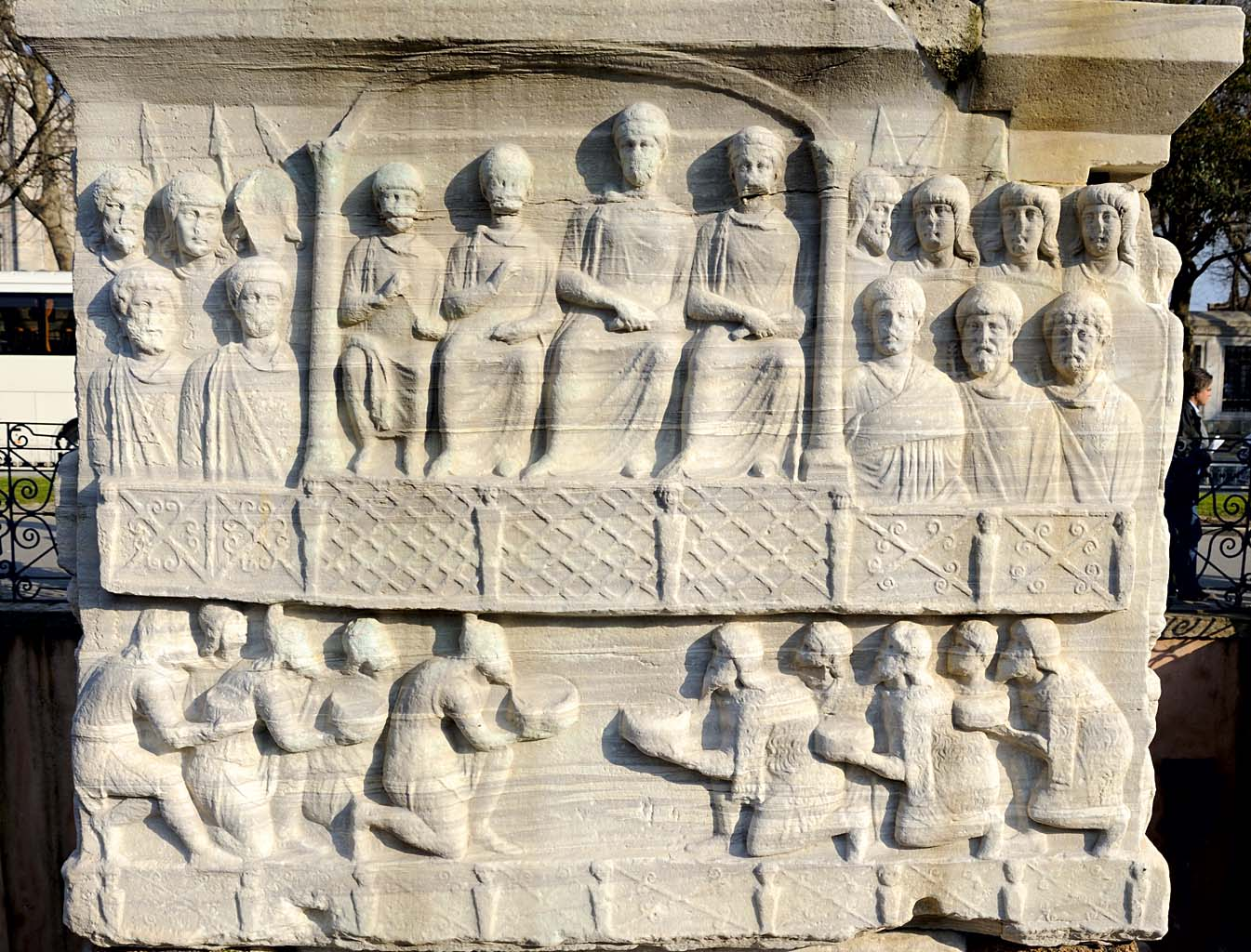Bringing by barbarians the gift to emperor. Pedestal of the Obelisk of Theodosius. West side. Hippodrome of Constantinople. 390 CE. Istanbul