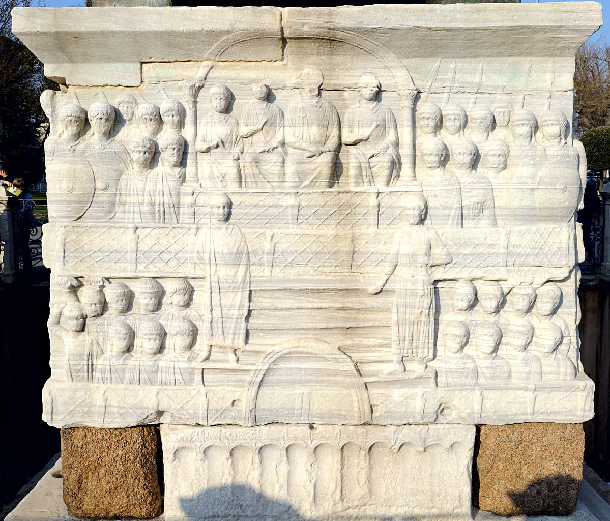 The emperor and his court. Pedestal of the Obelisk of Theodosius. South side. Hippodrome of Constantinople. 390 CE. Istanbul