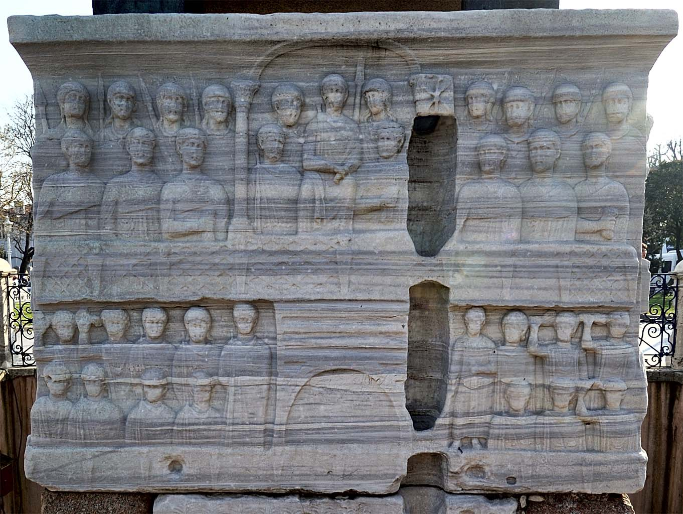 The emperor and his court. Pedestal of the Obelisk of Theodosius. North side. Hippodrome of Constantinople. 390 CE. Istanbul
