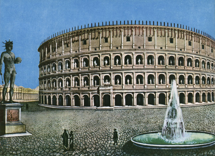 The Flavian Amphitheatre (Coliseum). Reconstruction. Coliseum, Meta Sudans fountain and the colossal bronze statue of Nero. Rome, Flavian Amphitheatre (Coliseum)
