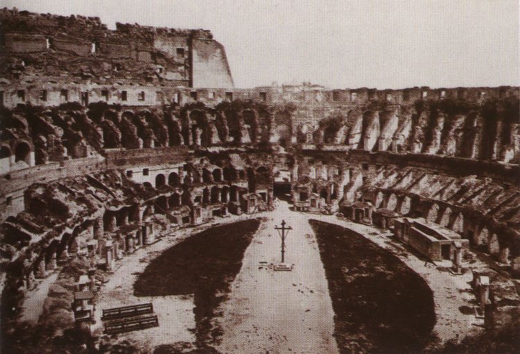 The Flavian Amphitheatre (Coliseum). Inside of Coliseum before the excavations of 1885. Rome, Flavian Amphitheatre (Coliseum)