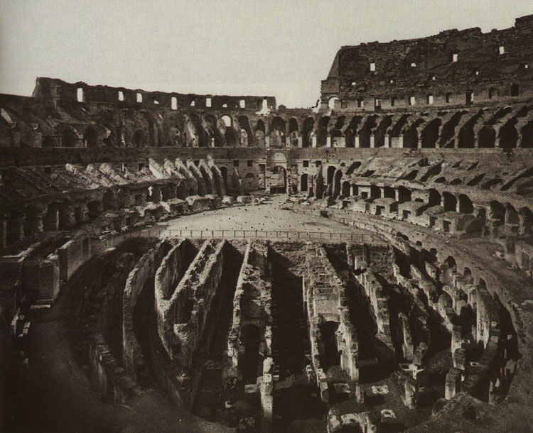 The Flavian Amphitheatre (Coliseum). Inside of Coliseum after the excavations. Rome, Flavian Amphitheatre (Coliseum)