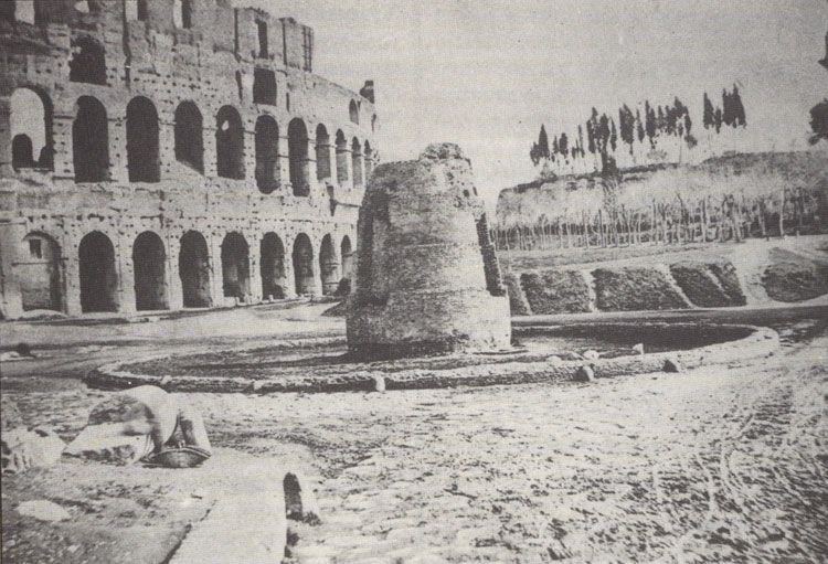 "The Flavian Amphitheatre (Coliseum). ""Sweating goal-post"" — remainder of the fountain before Coliseum, destroyed in 1930s. Photo of J. Parker. Rome, Flavian Amphitheatre (Coliseum)"