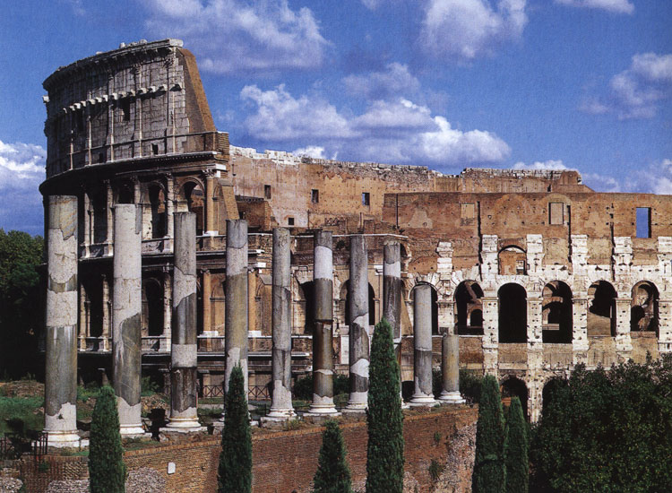 The Flavian Amphitheatre (Coliseum). View from the temple of Venus and Roma. Rome, Flavian Amphitheatre (Coliseum)