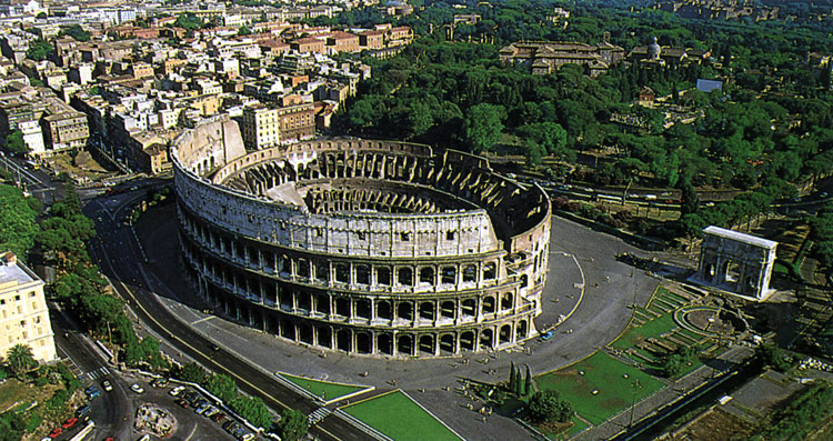 The Flavian Amphitheatre (Coliseum). View from above.  Rome, Flavian Amphitheatre (Coliseum)