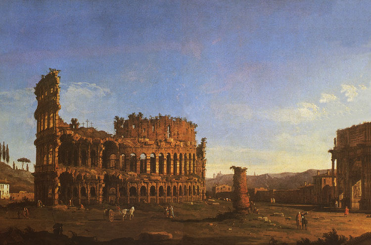 The Flavian Amphitheatre (Coliseum) and the arch of Constantine. Painter: Antonio Canaletto. Christie's Fine Art Auction House