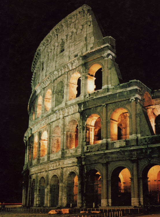 The Flavian Amphitheatre (Coliseum). Night view.  Rome, Flavian Amphitheatre (Coliseum)