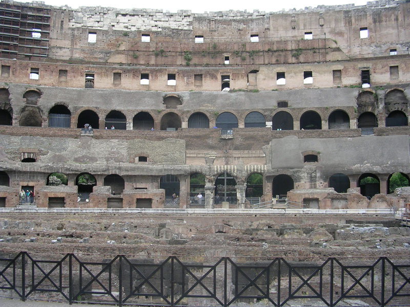 The Flavian Amphitheatre (Coliseum). View from within. Rome, Flavian Amphitheatre (Coliseum)