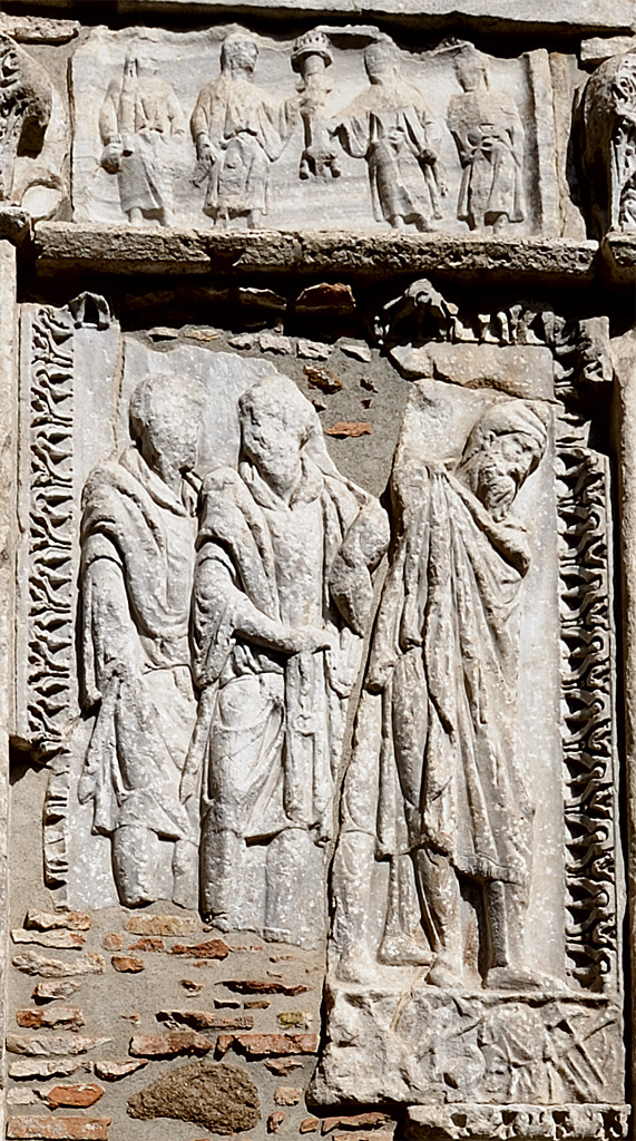 Arcus Argentariorum (arch of the money-changers, arch of Septimius Severus on Forum Boarium). Reliefs of the lateral side. Marble. 204 CE. Rome, Arcus Argentariorum