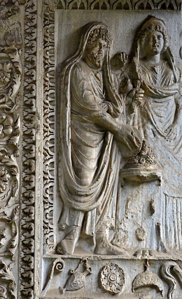 Septimius Severus, Julia Domna (and Geta). Relief of the inner side of the eastern pier of the Arcus Argentariorum on Forum Boarium. Marble. 204 CE. Rome, Arcus Argentariorum