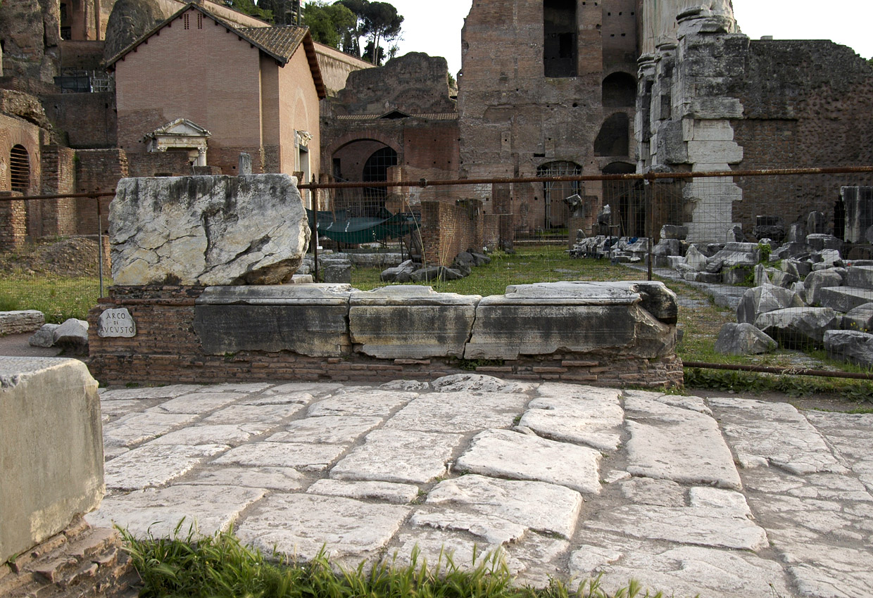 Remains of the Arch of August. 29 BCE. Rome, Roman Forum, Arch of August