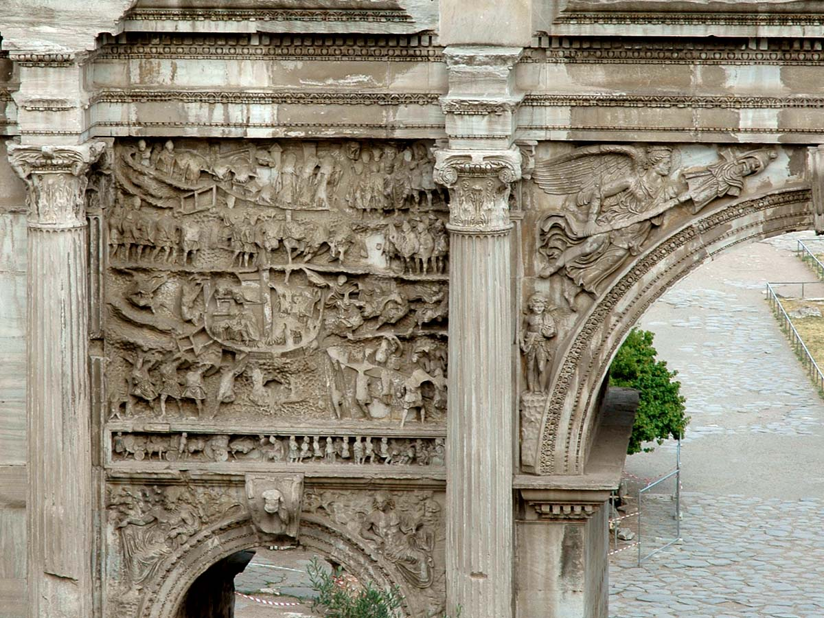 Arch of Septimius Severus. Left panel of arch. View from the side of Capitolium. Rome, Roman Forum, Arch of Septimius Severus