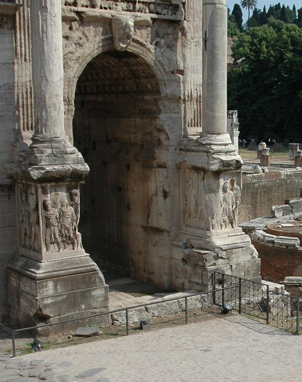 Arch of Septimius Severus. Flank fornix. View from the side of Capitolium. Rome, Roman Forum, Arch of Septimius Severus