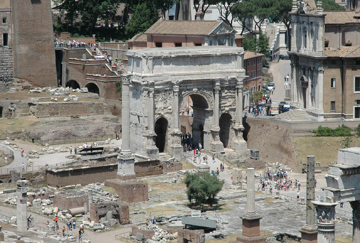 Arch of Septimius Severus. View from the side of Palatine. Rome, Roman Forum, Arch of Septimius Severus