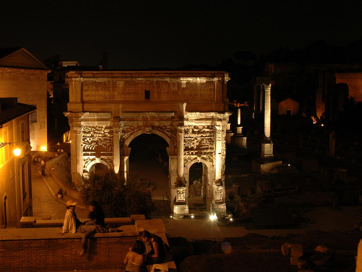 Arch of Septimius Severus. Night view from the Capitolium. 203 CE. Rome, Roman Forum, Arch of Septimius Severus