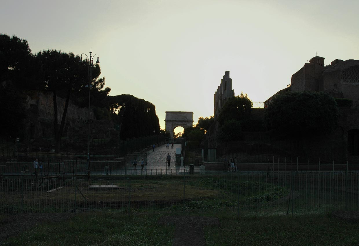Arch of Titus. View from Coliseum. 81—96 CE. Rome, Roman Forum, Arch of Titus