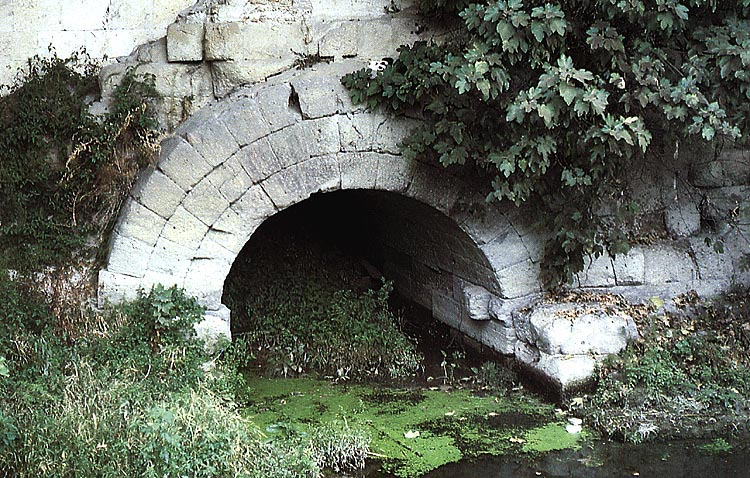 Outlet of the Great Cloaca (Cloaca Maxima) into the Tiber.  Rome, Baths of Traian