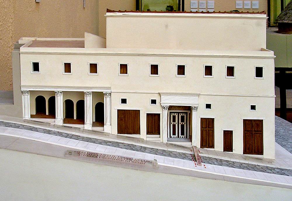 House of Marcus Aemilius Scaurus on the Palatine. From left to right: warehouses, baths, ergastulum, shop, entrance to the house, shop. Reconstruction. Mid-1st century BCE. Rome, Museum of Roman Civilization