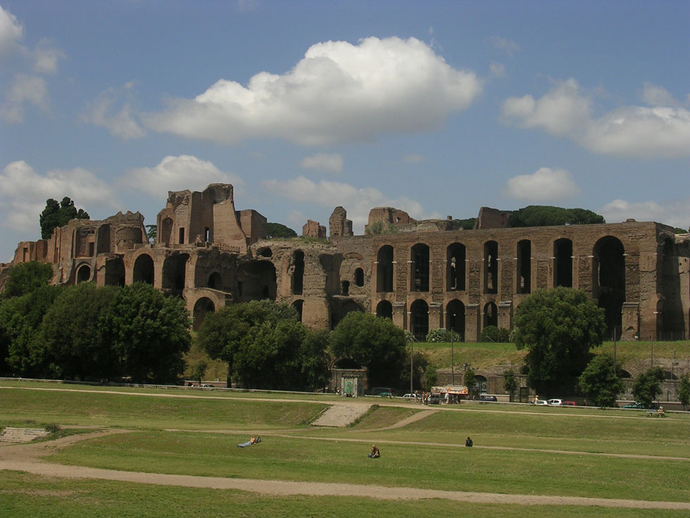 Palace of Septimius Severus. View from Circus Maximus. Rome, Palatine