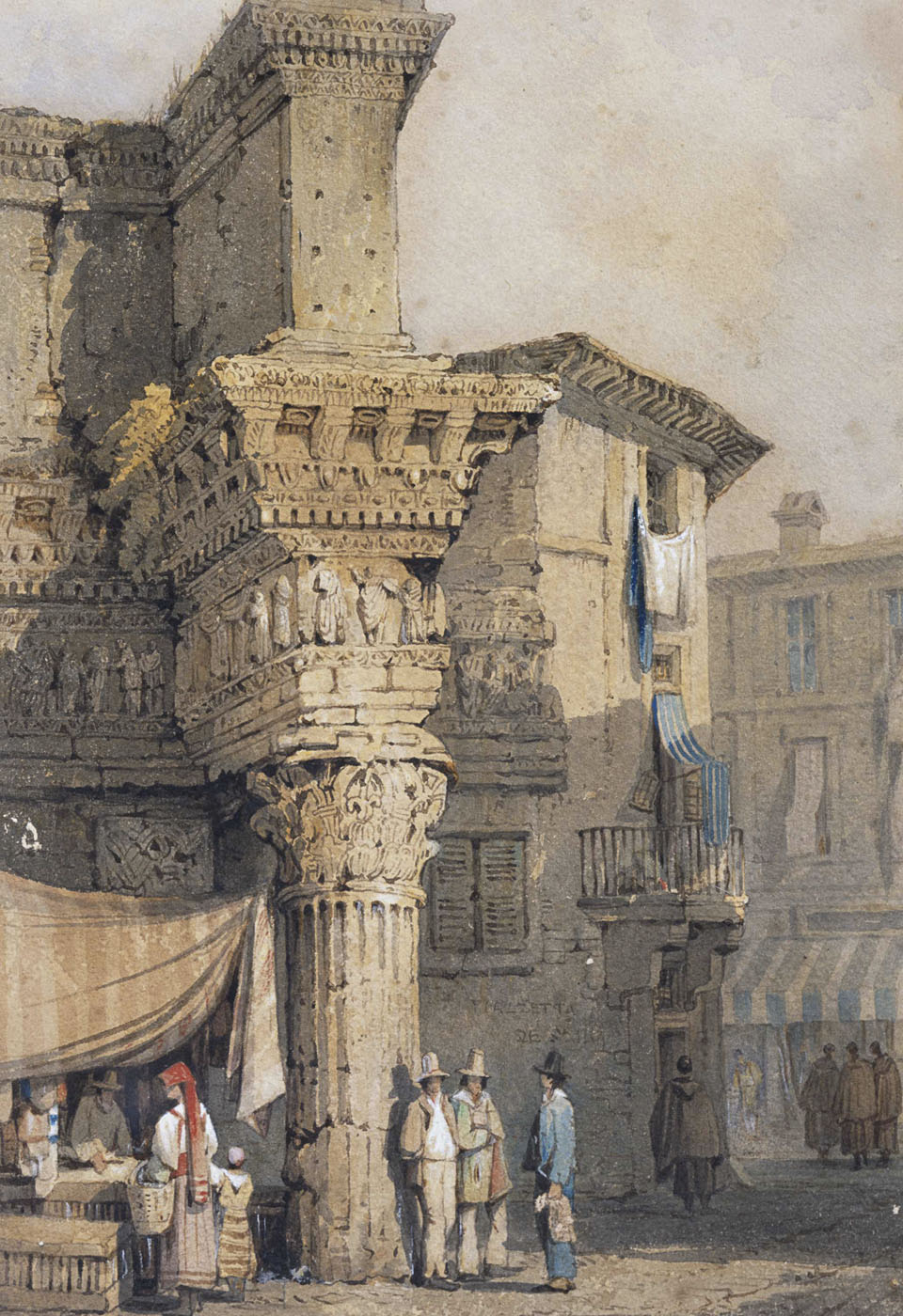 The forum of Nerva in the first half of 19th century. Samuel Prout (1783—1852). Watercolour on paper. Rome, Forum of Nerva