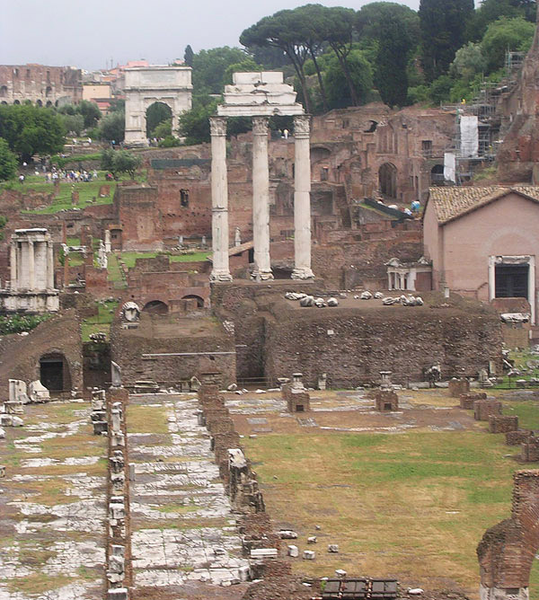Roman Forum. View from Tabularium. (Temple of Vesta, Coliseum, arch of Titus, basilica Iulia, temple of Castor and Pollux, atrium Vestae, house of Tiberius). Rome, Roman Forum