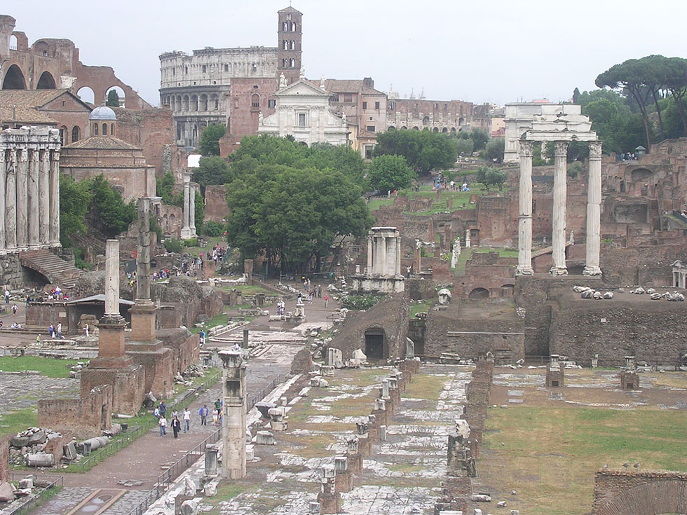 Roman Forum. View from Tabularium. (Temple of Antoninus and Faustina, temple of Divus Romulus, basilica of Maxentius, temple of Divus Iulius, Coliseum, basilica Iulia, temple of Vesta, atrium Vestae, temple of Castor and Pollux) Rome, Roman Forum