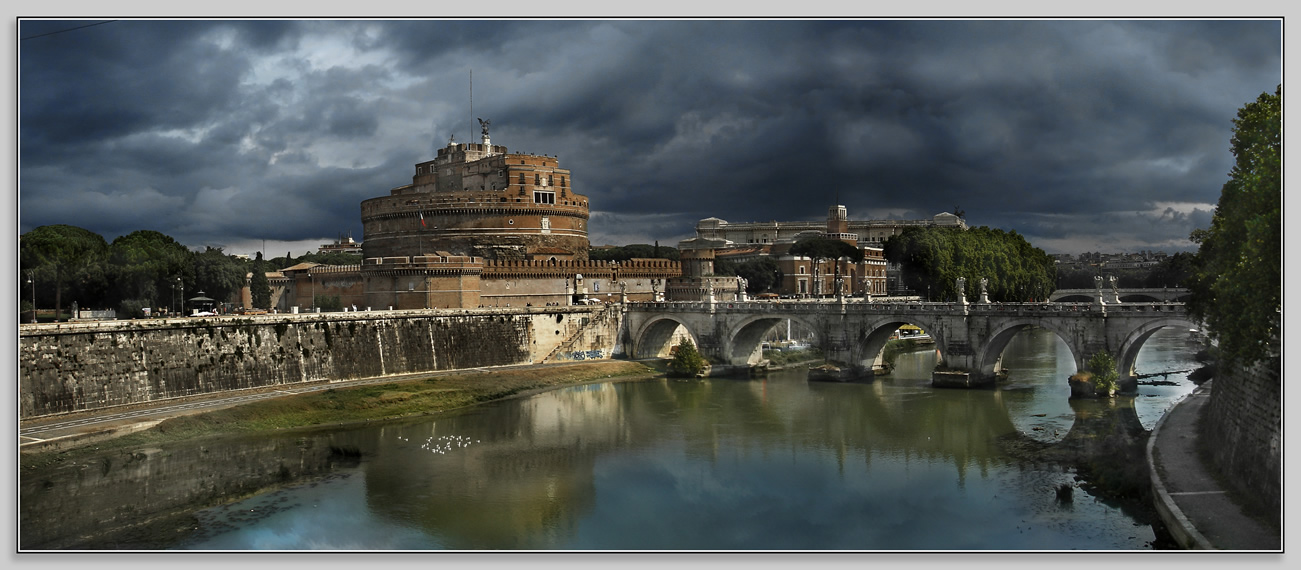 Mausoleum of Hadrian and bridge of Aelius. Panorama. (Castel Sant Angelo). Rome, Mausoleum of Hadrian (Castle of the Holy Angel)