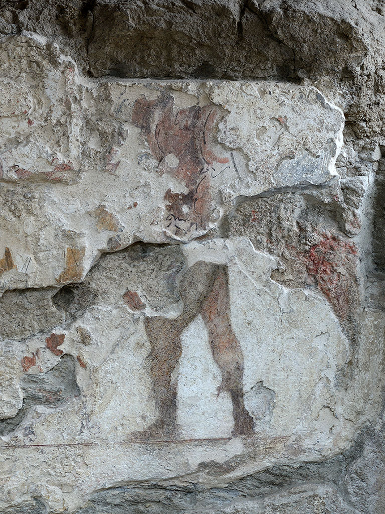 Figure of a warrior. Fragment of a wall painting on the facade of the Tomb of the Scipios on the via Appia (the third, upper fresco layer). Rome, Tomb of the Scipios